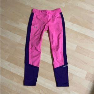 Under Armour Pink Girls Leggings Youth Medium